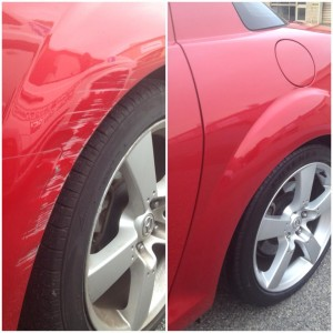 Typical wheel arch repair before and after. This is the kind of damage we repair on lease vehicles - and the lease company is none the wiser.